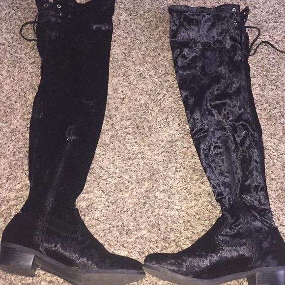 Shoes - 8.5 black velvet boots